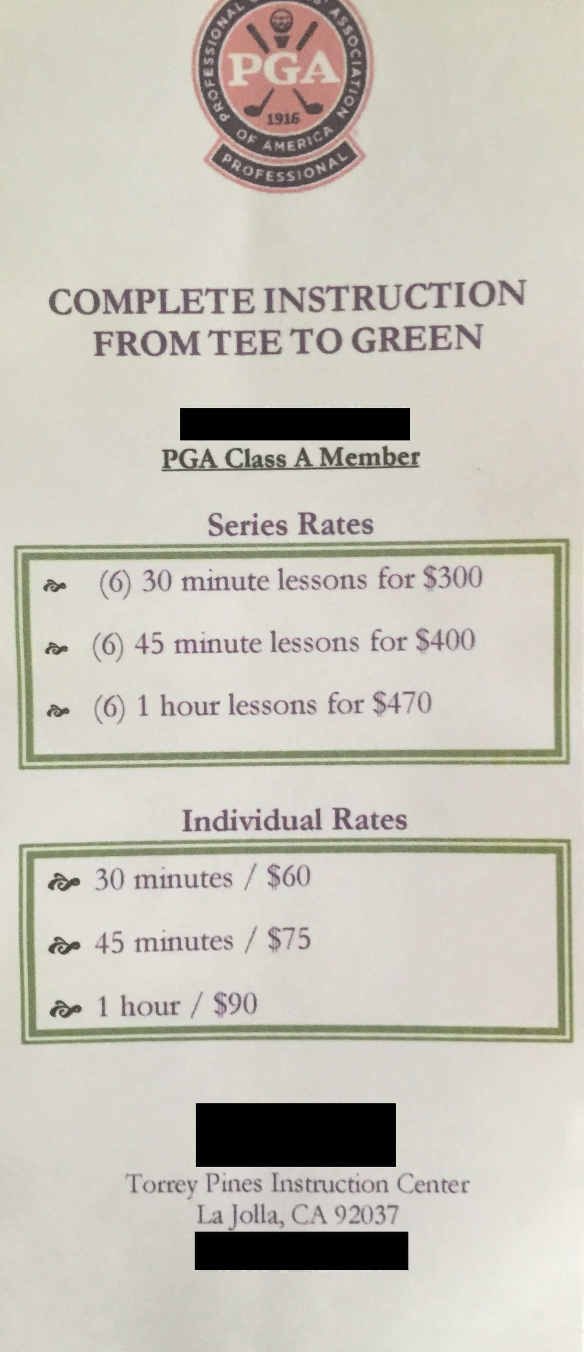 The Power and Distance Challenge is not going to cost you an arm and a leg like private lessons would. Professional PGA instructors can charge upwards of $90 to $100 per hour.